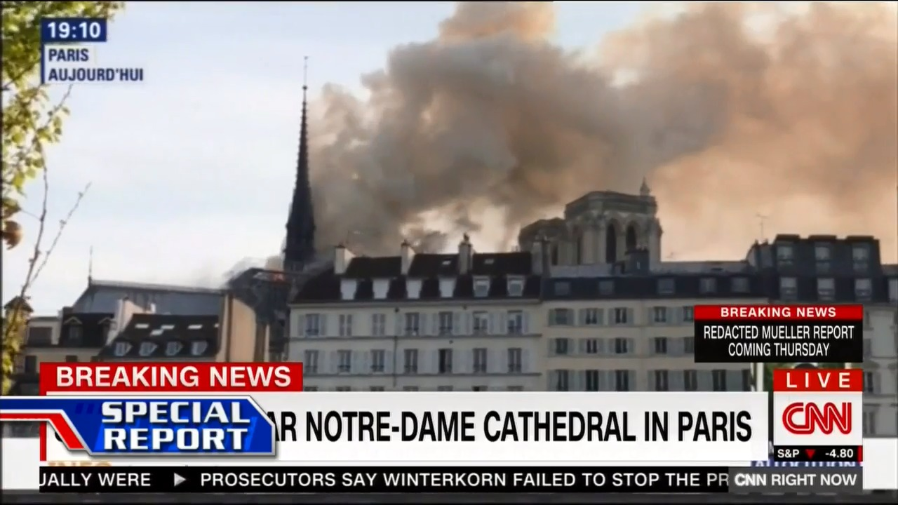 On US cable news coverage of the Notre Dame fire